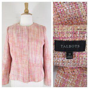 Talbots Plus Size Pink Cream Tweed Zip Blazer 14